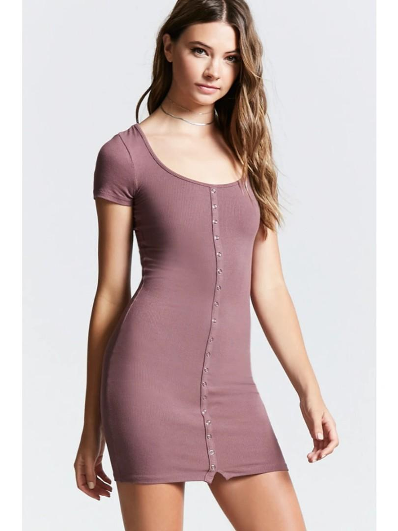 Forever 21 Ribbed Snap Button Dress in Lavender/Mauve