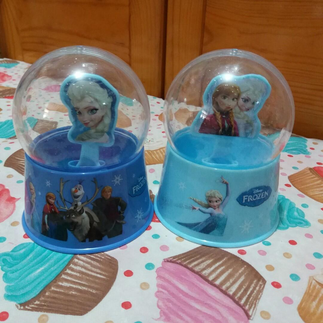 Frozen 甜品杯 連匙羹 ,透明閃粉蓋 (美心)