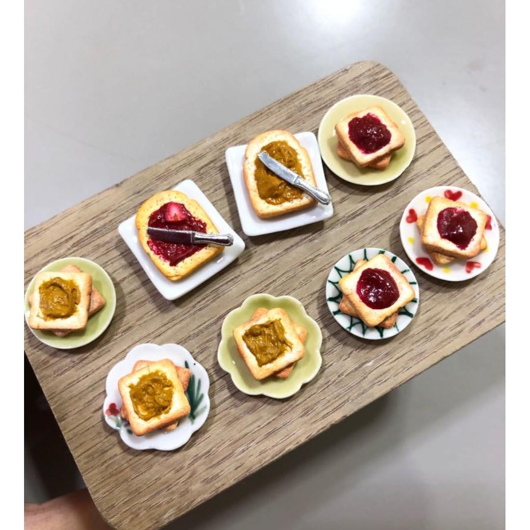 Handmade Miniature Peanut Butter Toast & Strawberry Jam Toast (Clay)