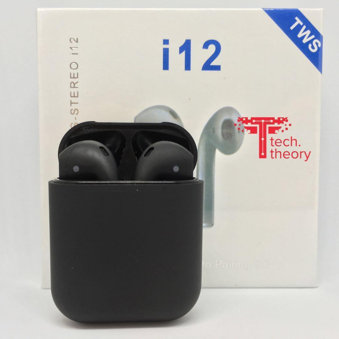 i12 TWS (Matte Black) Airpods Earpods Clone Wireless