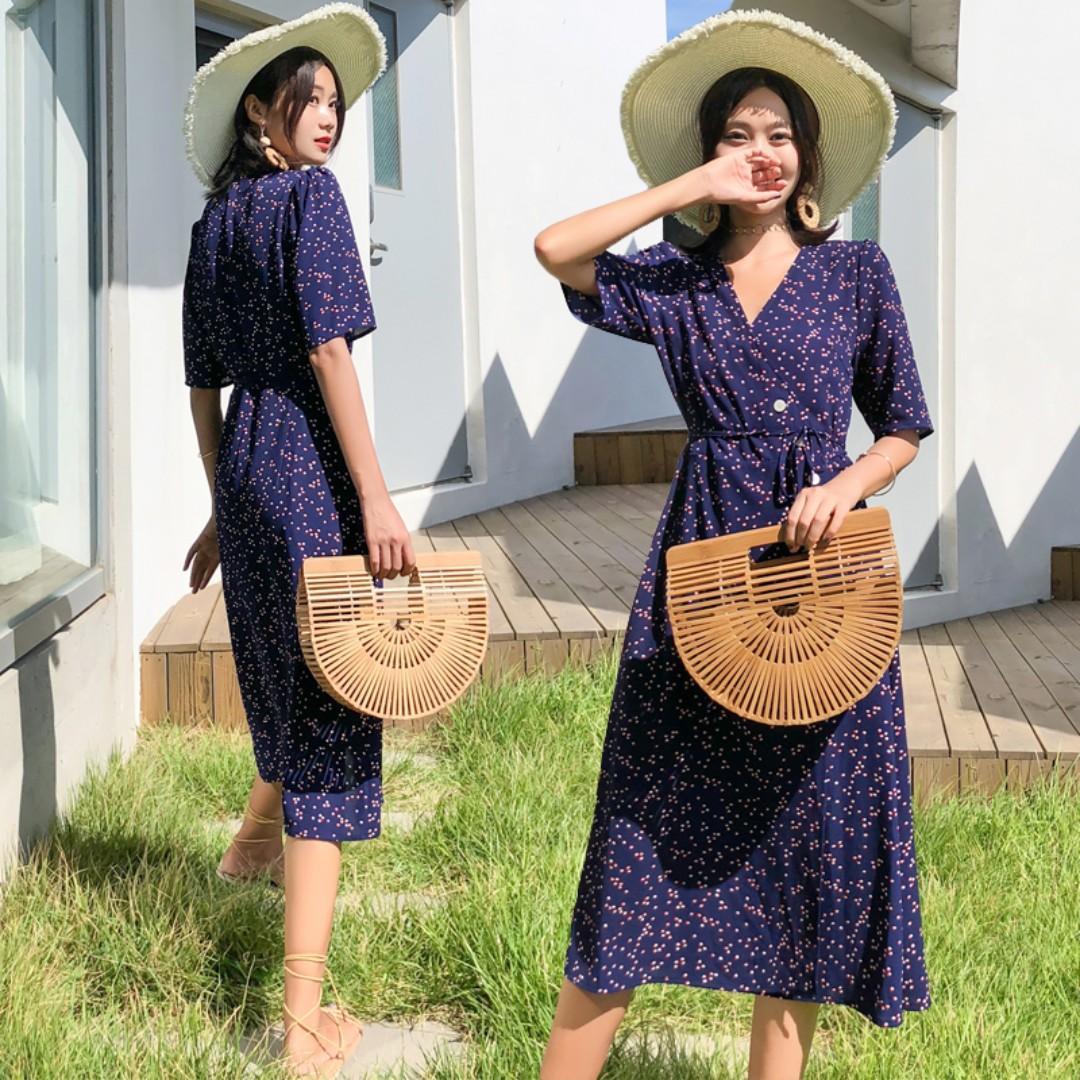 Instock Holiday Vacation Wrap Summer Maxi Dress (Free Mailing)