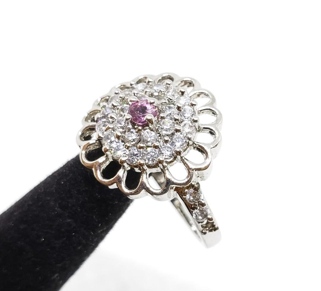 Juicy Pink Tourmaline ring, 925 sterling silver ,statement ring, Round cut gemstone, Multi stone, gift for her