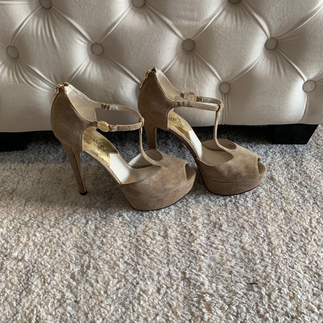 NEW! Michael Kors T Strap Suede Shoes Heels - Size 8