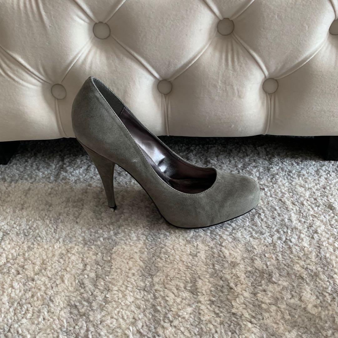 NEW! Steve Madden Trinitie Shoes Heel - Grey Suede - Size 8.5
