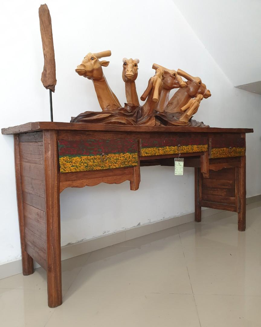 Old Teak Console Table With 3 Drawers On Carousell