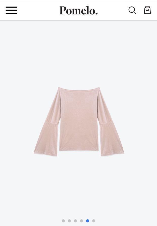Pink Velvel Off Shoulder Top