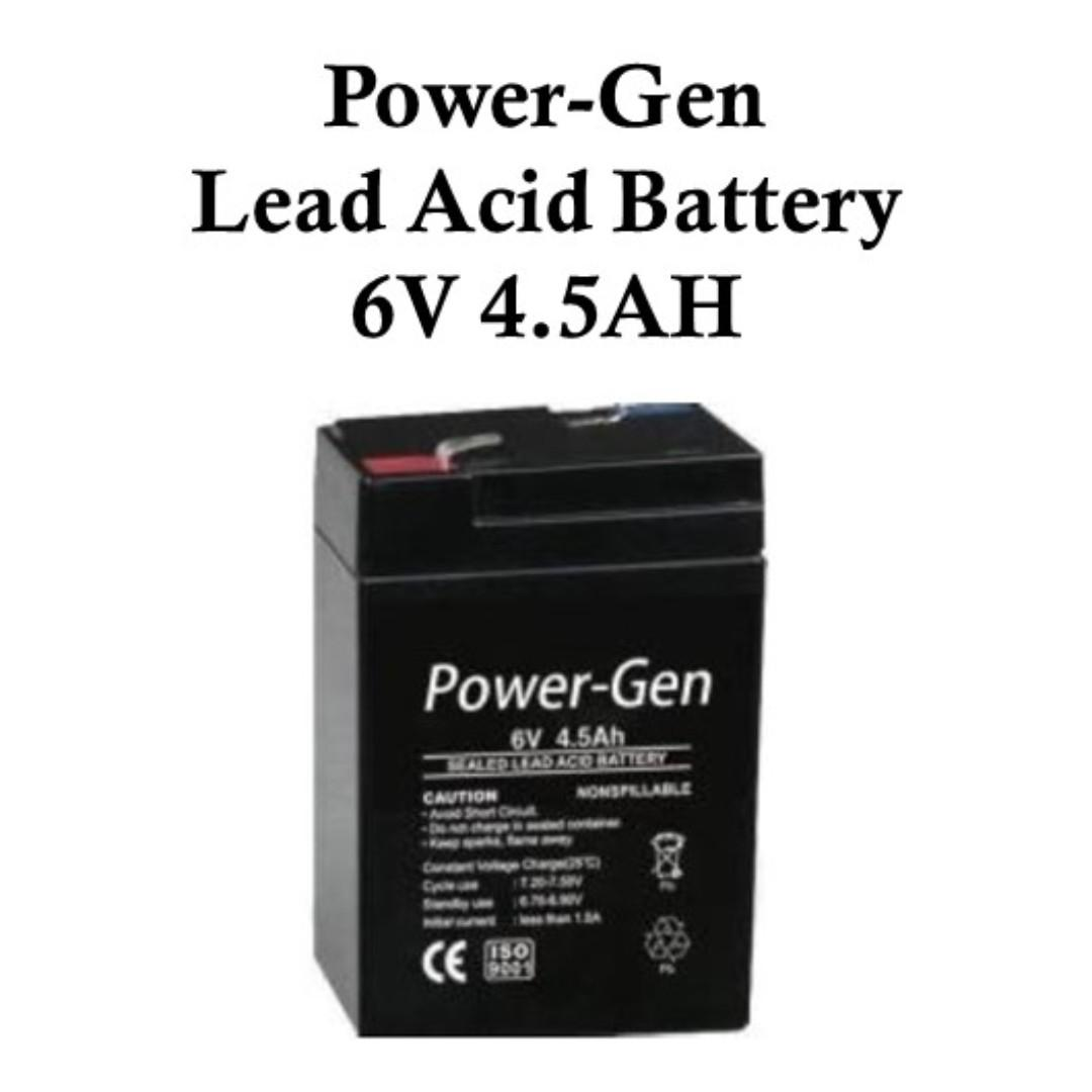 Power-Gen Lead Acid Battery 6V 4.5AH Valve Regulated Sealed
