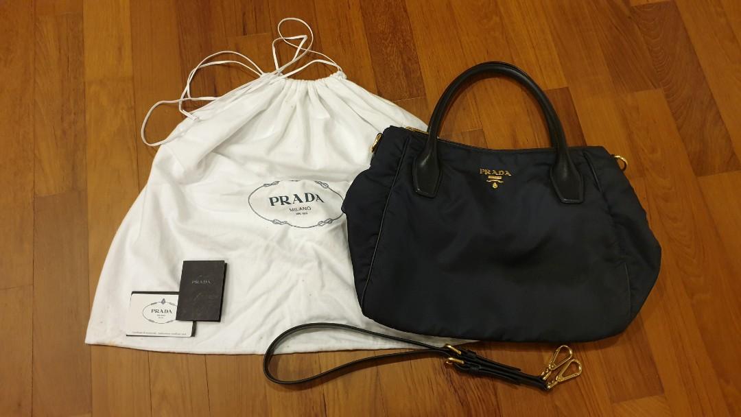 3adb65cb6f33 Prada BR4992 Nero Tessuto Soft CA Bleu Shoulder Bag Shopping Tote ...