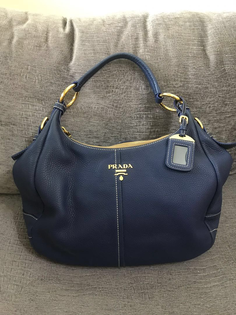 5ffa84471545 Prada Vitello Daino Leather Zip Top Hobo Bag BR4373, Luxury, Bags ...