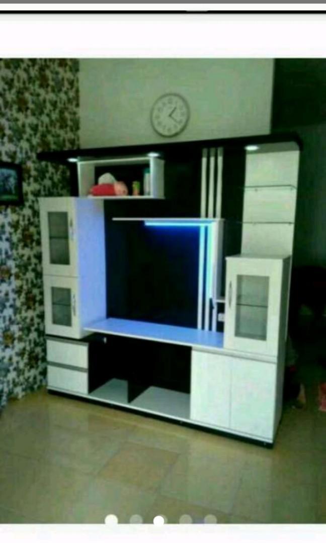 Rak meja Tv modern minimalis berlampu LED