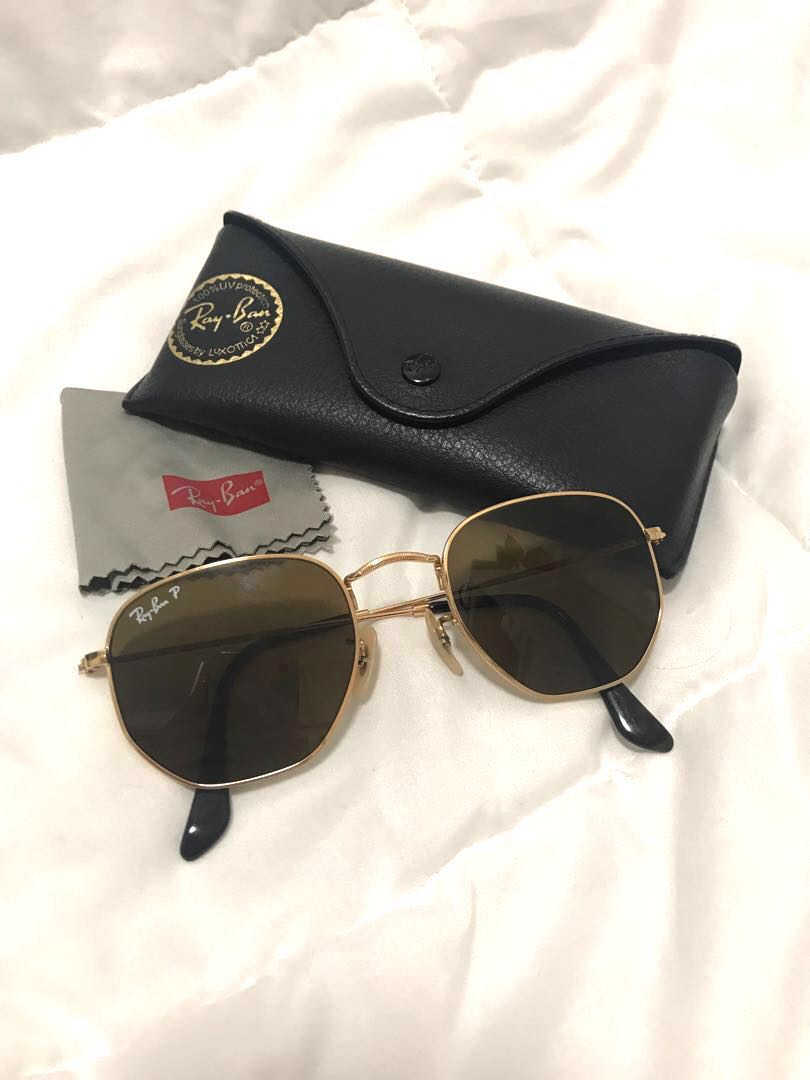 88e6fa23cf Ray-Ban Hexagonal Flat Sunglasses Polarised RB3548N RB3548 in Gold ...