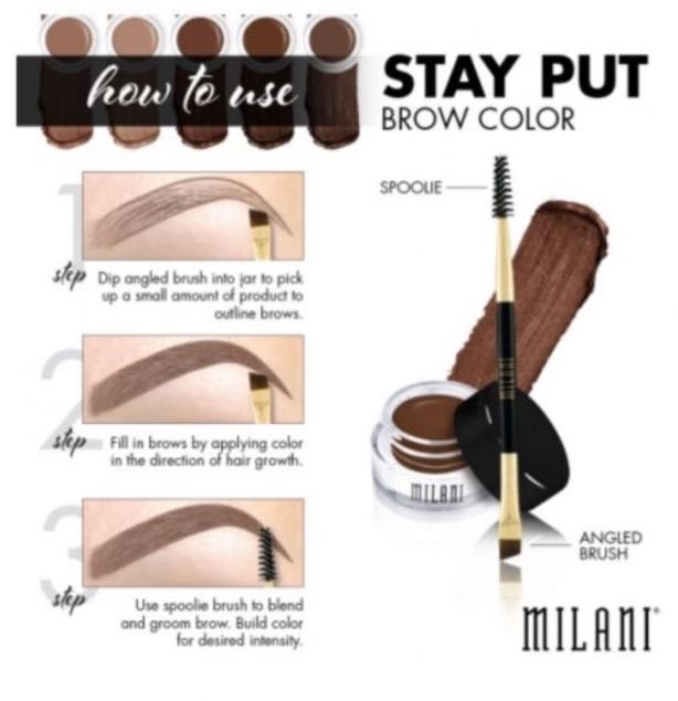 Restock Milani Stay Put Brow Colour Eyebrow Color Pomade with Brush