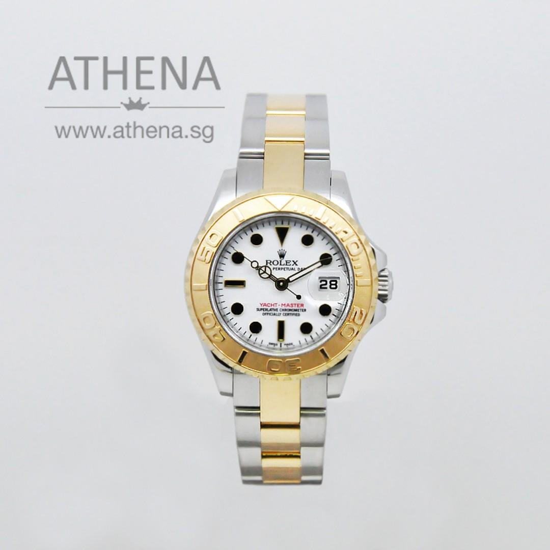 """ROLEX """"HALF GOLD"""" LADIES YACHT-MASTER """"V"""" SERIES WITH CERT & CHAPTER RING 169623 (LOCAL AD) JEWRL_744"""