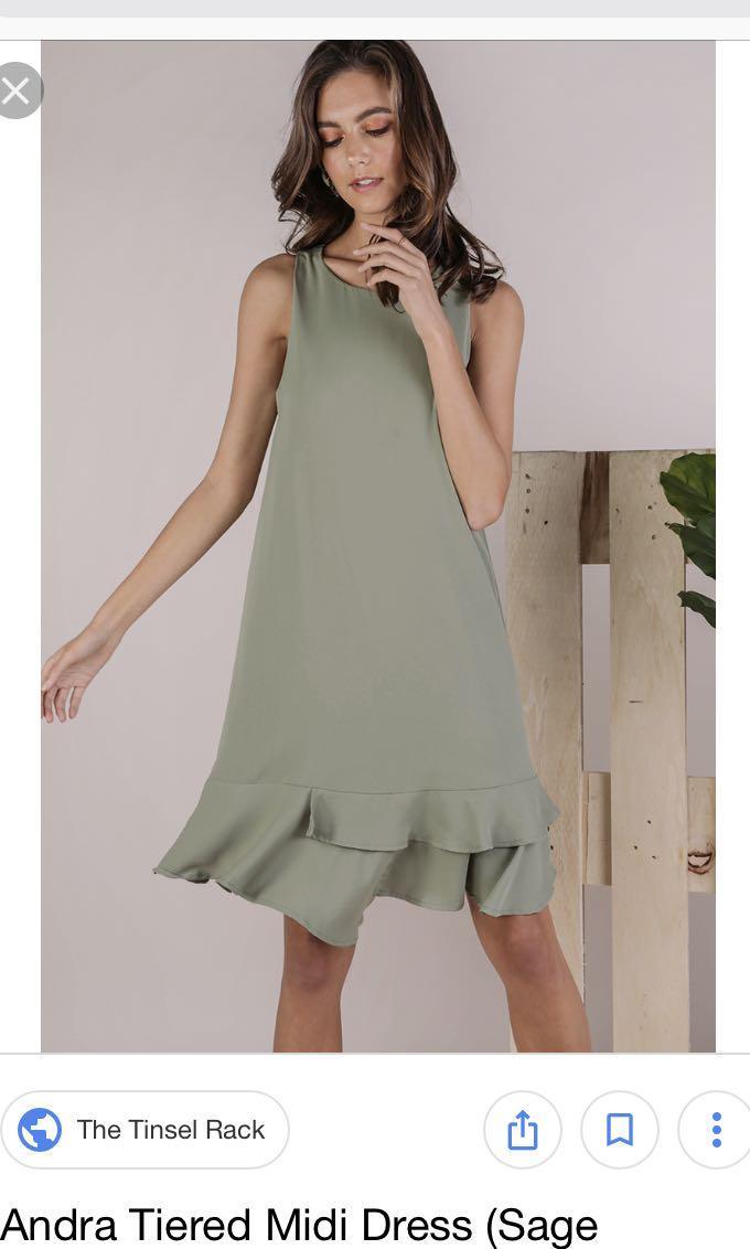 The Tinsel Rack TTR Andra Tiered Midi Dress (sage green)