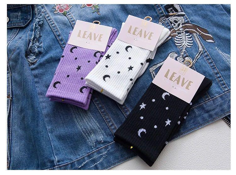 INSTOCK Ulzzang Moon and Stars Socks