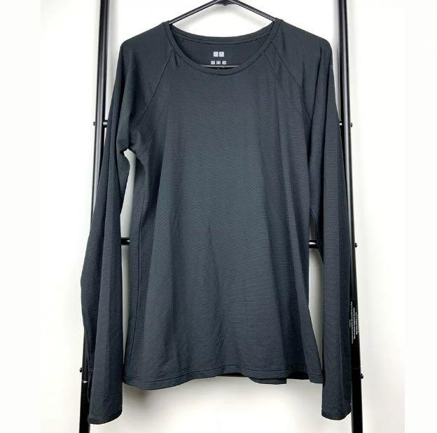 Uniqlo sz L black basic women UV cut dry top shirt workout gym sports activewear