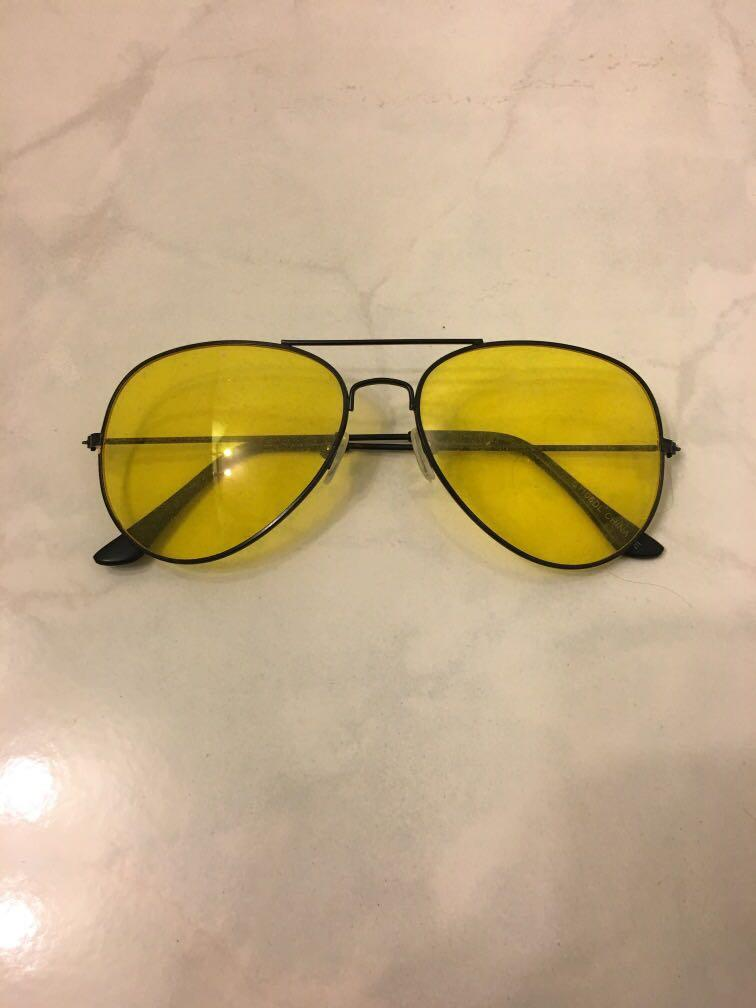 Urban Outfitters Yellow Aviator Sunglasses