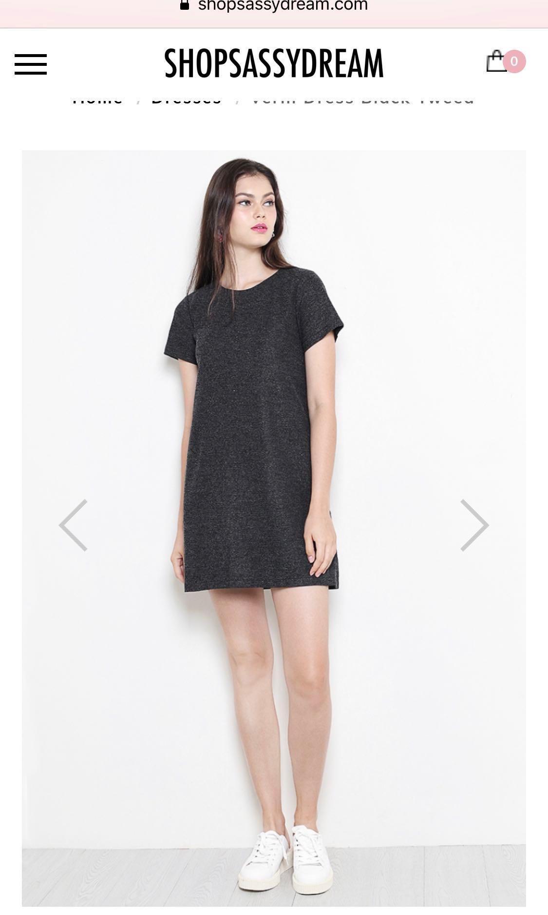 Verin Dress Black Tweed