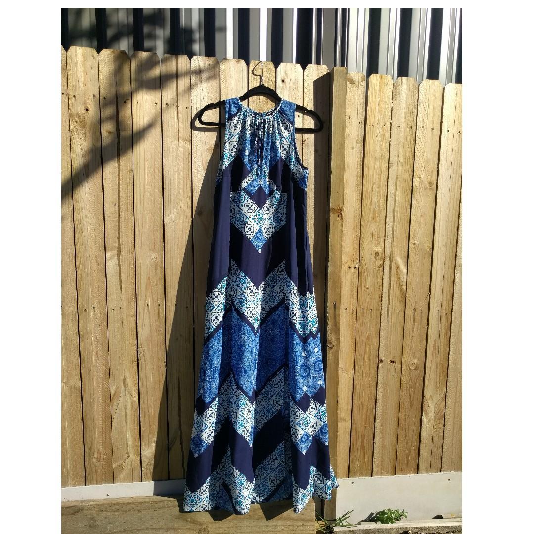 WAREHOUSE LONDON Brilliant Blue Moroccan Tiles Dress w/ Side Splits BNWOT AU 12