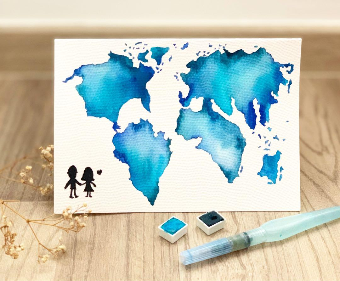Watercolor map calligraphy card