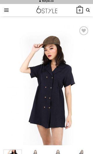 6style Lozano Preppy Outfit Dress One Piece Cute Ulzzang Korean