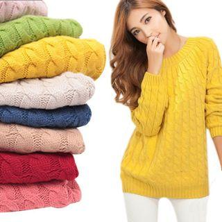 Long Sleeves Round-neck Twist Knitted Retro Tops