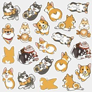 Corgi Stickers / Corgi Sticker Flakes