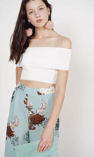 MDS Overlay Crop Top in Off White
