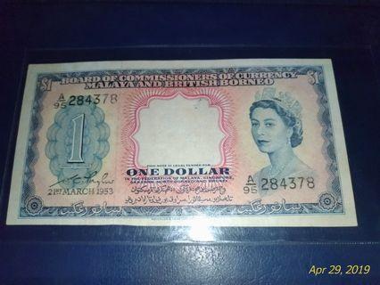 1 Dollar Malay and British 21March 1953