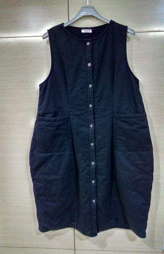 🚚 韓版~長背心外套,黑色,舖棉,7成新,
