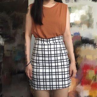 🚚 格紋配色A字裙 短裙