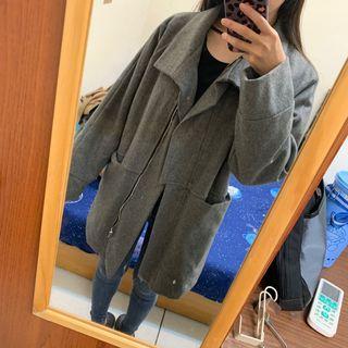 🚚 簡約灰色毛呢鋪棉口袋大衣
