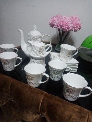 Set Glass Hi Tea 16 in 1 berukir