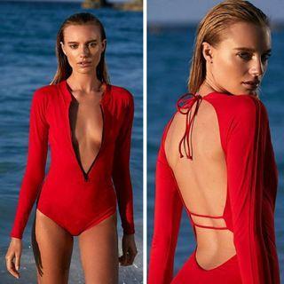 [PO] Red Backless One Piece Long Sleeve Swimsuit Swimwear Bodysuit