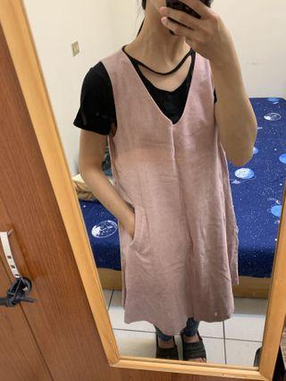 正韓製粉色背心外搭洋裝