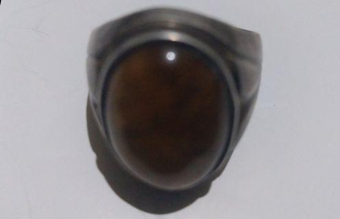 Batu Akik Tiger Eye Plus Cincin Perak