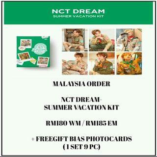 NCT DREAM - SUMMER VACATION KIT - PREORDER/NORMAL ORDER/GROUP ORDER/GO + FREE GIFT BIAS PHOTOCARDS (1 ALBUM GET 1 SET PC, 1 SET HAS 9 PC)