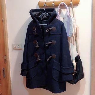 日貨 60%羊毛 深藍牛角釦大衣 外套