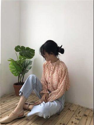 韓系小碎花襯衫