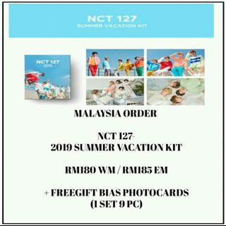 NCT127 - 2019 SUMMER VACATION KIT - PREORDER/NORMAL ORDER/GROUP ORDER/GO + FREE GIFT BIAS PHOTOCARDS (1 ALBUM GET 1 SET PC, 1 SET HAS 9 PC)