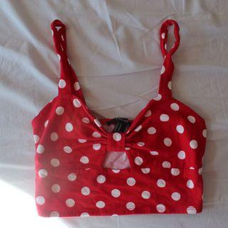 Forever 21 Red polka dot crop top