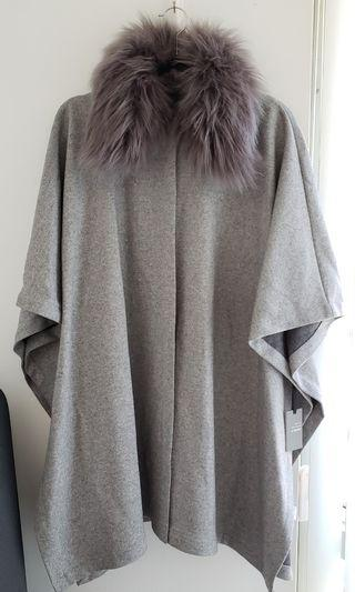 Forever 21 Cape Coat w/ Removable Fur Collar