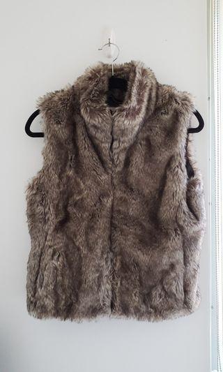 Banana Republic Faux Fur Vest w/ Leather Detail