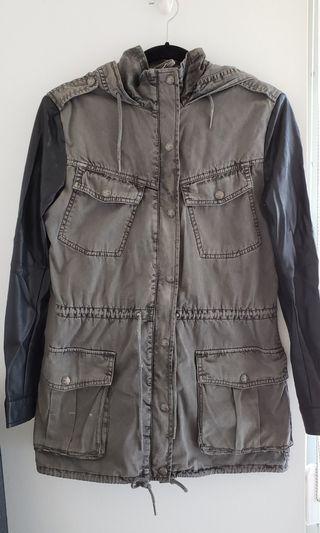Talula Grey Jacket w/ leather sleeves