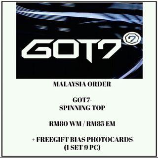 #GOT7 - SPINNING TOP - PREORDER/NORMAL ORDER/GROUP ORDER/GO + FREE GIFT BIAS PHOTOCARDS (1 ALBUM GET 1 SET PC, 1 SET HAS 9 PC)