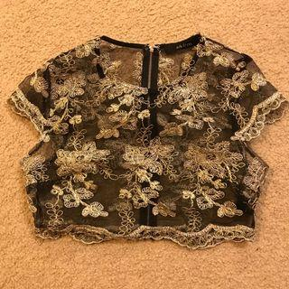Black and Gold Sheer Lace Crop Top (S)