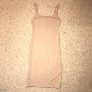 ZARA Beige Midi Bodycon Dress (M)
