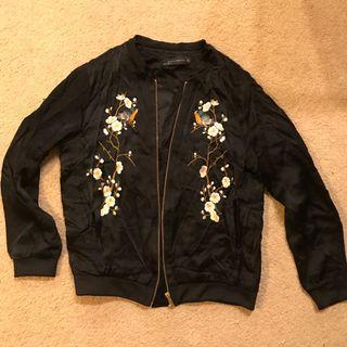 ZARA Black Embroidery Bomber (S)