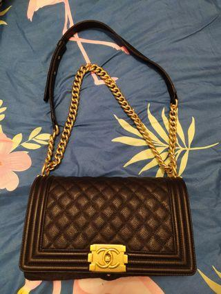 89136c674e43 LNIB #23 Authentic Chanel Medium Boy Bag in Black Caviar Vintage Rustic Gold  Hardware GHS