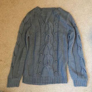 Grey Crew Knit Sweater (L)